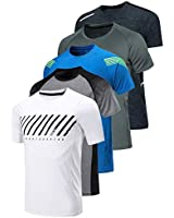 5 Pack Men's Active Quick Dry Crew Neck T Shirts | Athletic Running Gym Workout Short Sleeve Tee Tops Bulk (Edition 2, X-Large)