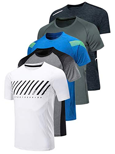 5 Pack Men's Active Quick Dry Crew Neck T Shirts | Athletic Running Gym Workout Short Sleeve Tee Tops Bulk (Edition 2, Medium)