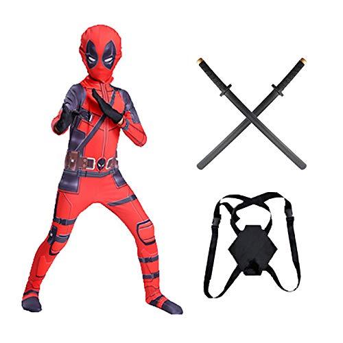 WEIR Disfraz de Cosplay de Deadpool para niños y Adultos Mono 3D con Mochila y Espadas Dobles Monos de Licra Conjunto Completo de Accesorios de Rendimiento de Halloween,Deadpool-130~140cm