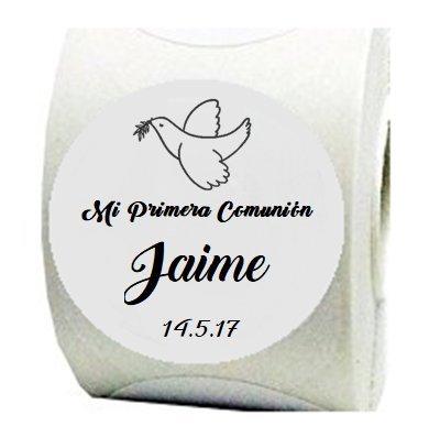 100 Etiquetas adhesivas Paloma para Primera Comunión