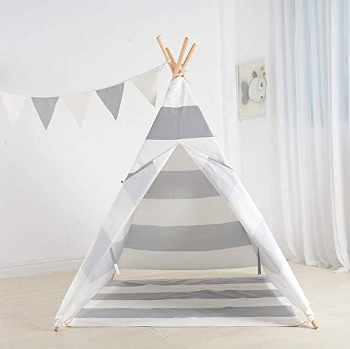 Barm Grey-and-white striped cotton canvas indian children's play house,Foldable indoor and outdoor children's tent indoor play tent baby toy house boy and girl princess castle-B