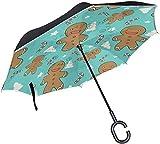 Regenschirm Inverted Weihnachtsmuster Lebkuchen-Plätzchen-Süßigkeit Double-Layer-Reverse C-förmig