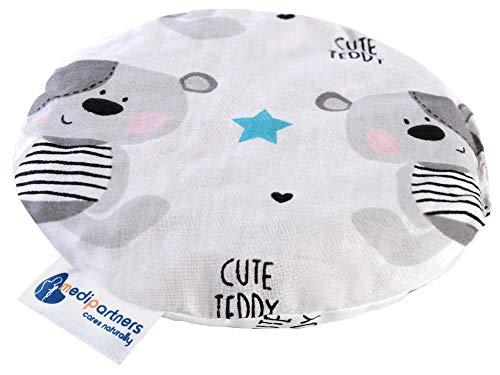 Coussin chauffant en noyaux de cerises pour bébé 180 g rond 15 cm 100% coton naturel Medi Partners chaleur + thérapie par le froid (Teddy)