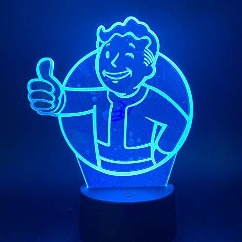 3D Led Night Light Lamp Game Fallout Shelter Touch Sensor Color KATA