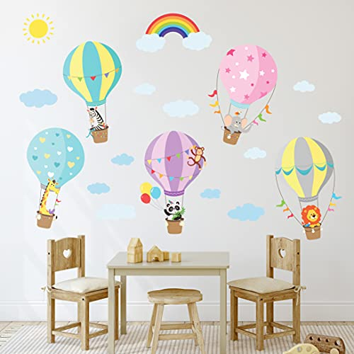BASHOM BS-001 Animales en globos aerostáticos Vinilo Pegatinas Decorativas Adhesiva Pared Dormitorio Saln Guardera Habitaci Infantiles Nios Bebs
