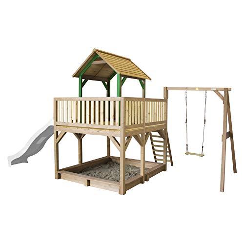 AXI Atka Speeltoren met Enkele Schommel Bruin/groen - FSC - Zandbak incl. hoes - Glijbaan (Bruin, groen, wit)