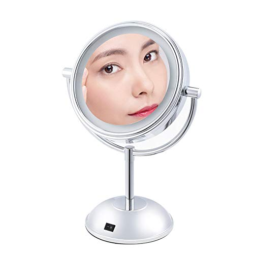 Miroir Maquillage Lumineux, Mettez En Surbrillance La Source De Lumière LED, Miroir Double (Grossissement Simple Face), Vision Rotative À 360º, Alimenté Par 4 Piles AA (Non Incluses)