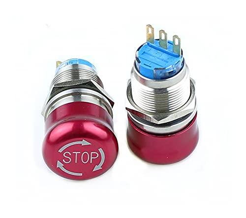 LGFCOK 1PCS 1 9mm Detener Patrón Plano Redondo Acero Inoxidable Metal Emergencia Parada Interruptor Interruptor Push Block Encendido Restablecer Color Rojo 3 Pin