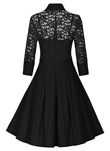 Miusol Damen Spitzen 3/4 Aermel Elegant Revers Cocktailkleid 1950er Jahre Faltenrock Party Kleid Hellblau Gr.3XL - 7