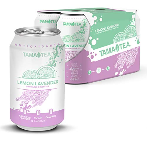 Tama Tea Sparkling Green Tea: LEMON LAVENDER. Made with Real Fruit & Herbs, 12 Fl Oz Cans, Pack of 12 Green Tea Cans