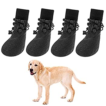 Anti-Slip Dog Boots 4 Packs - Adjustable Dog Socks with Shoelace Waterproof Dog Sock Shoe for All Seasons Super Durable Pet Paw Protector for Indoor and Outdoor Medium and Large Dogs  X-Large
