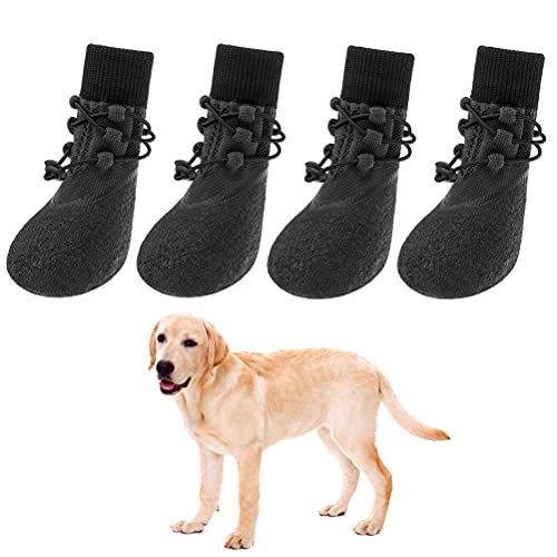 Anti-Slip Dog Boots 4 Packs - Adjustable Dog Socks with Shoelace, Waterproof Dog Sock Shoe for All Seasons, Super Durable Pet Paw Protector for Indoor and Outdoor, Medium and Large Dogs (Large)