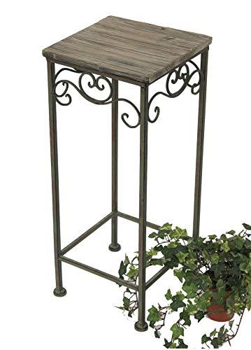 DanDiBo bloemenkruk metaal hoekig 56, 64, 72 cm bloemenstandaard 11134 bijzettafel plantenstandaard houten plantenstandaard bloemenzuil Höhe 64 cm Groen patina antiek