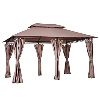 Outsunny 10  x 13  Steel Outdoor Patio Gazebo Canopy with Tier-Level Roof Polyester Curtains & 12 Ground Stakes