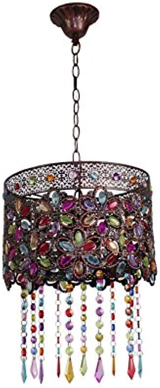 European Style Retro American Village Kronleuchter Kreative Eisen Plexiglas Farbige Perlen Handgemachte Lichter Kronleuchter E14 Schlafzimmer Wohnzimmer Restaurant Bar (gre   4 )