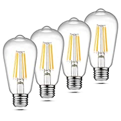 Ascher Pack of 4 Units E26 LED Filament bulbs replace 60W incandescent bulb by 6W LED, save over 90% on electricity bill of lighting. NOTE: This E26 LED bulb is not dimmable, please DO NOT use them with dimmer switch. The LED filament bulb turns on a...