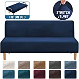 H.VERSAILTEX Real Velvet Plush 1 Piece Futon Sofa Bed Cover Stretch Sofa Slipcover Armless Sofa Cover Furniture Protector with Elastic Bottom Form Fitted Skid Resistance Washable, Futon, Navy