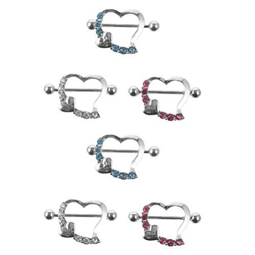 EXCEART 3 Pares de Joyas para Perforar El Cuerpo Anillo de Pezón de Acero Inoxidable Barras de Diamantes de Imitación Pernos para Perforar El Pecho Joyería para Pezones Sm Juguetes para