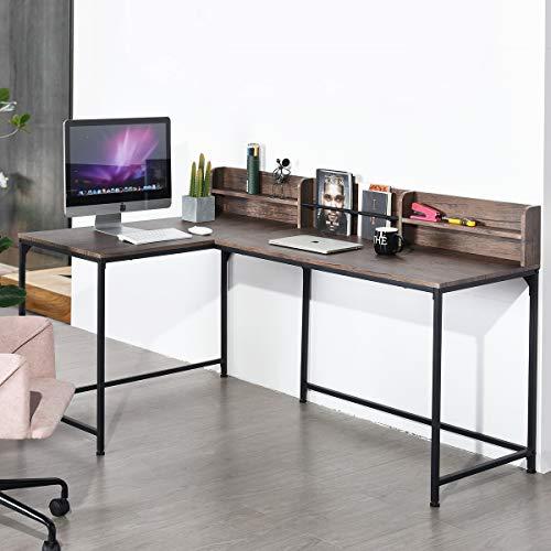 L-förmiger Home-Office Computer Workstation PC Gaming Schreibtisch mit 3 Metallregalen Rahmen MDF oben, Walnuss, 165 x 110 x 95 cm