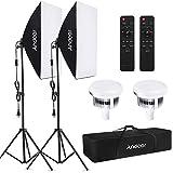 Andoer Studio Photography Light kit Softbox Lighting Set with 85W 2800K-5700K Bi-color Temperature LED Light 2 + 50x70cm Softbox 2 + 2M Light Stand 2 + Remote Control 2 + Carry Bag 1