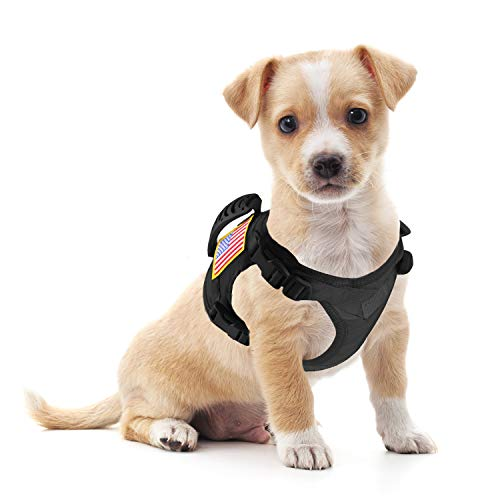 Hanshengday Tactical Dog Working Vest Training Harness No-Pull Adjustable Outdoor Military Vest with Rubble Handle Molle Loop Panels