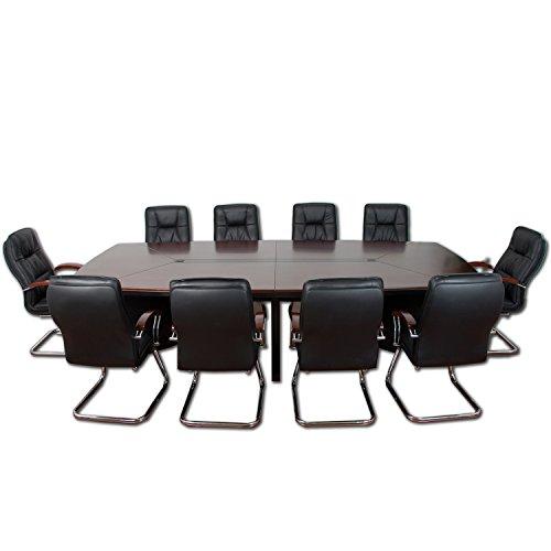 """Set """"Prestige"""", Konferenztisch + 10 Freischwinger Stühle aus ECHT LEDER, komplett ECHTHOLZFURNIER, 320x150x76 cm Tischmaß Besprechungstisch"""