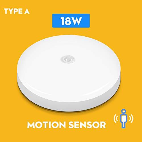 BFMBCHDJ PIR Motion Sensor LED Deckenleuchte Moderne runde Deckenleuchte Aufputz Wohnzimmer Beleuchtung kaltweiß 18W 300x300x60mm