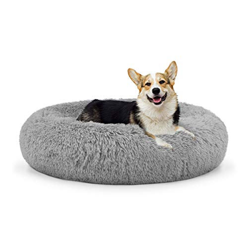 The Dog's Bed Sound Sleep Donut Dog Bed, Med Silver Grey Plush Removable Cover Premium Calming Nest Bed