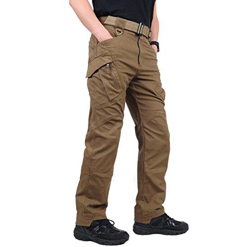 BELLOO Herren Baumwolle Cargohose Arbeitshose Multi-Taschen Hose,Braun,XL