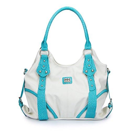 ManuMar Damen Handtasche Bella Henkeltasche Weiß Türkis 36x25x11 cm