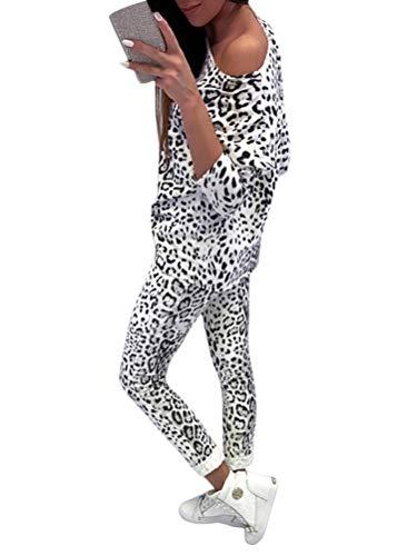 Minetow Damen 2 Stücke Set Outfit Sport Yoga Fitness Jogginganzug Jumpsuit Zweiteiler Anzug Langarm Tarnung Hemd Top + Hose mit Taschen Kordelzug Weiß DE 36