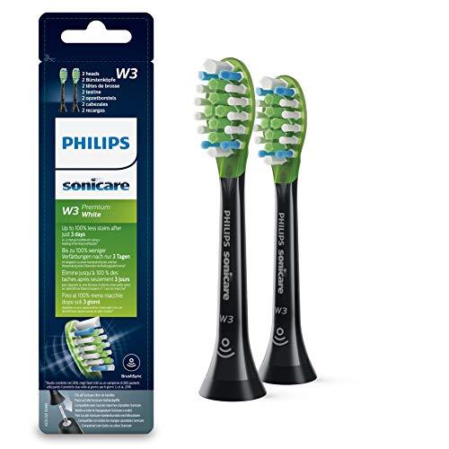 Philips Sonicare Original Premium White Aufsteckbürsten HX9062/33 für weißere Zähne – Passen auf jede Philips Sonicare Zahnbürste mit Aufsteck-System – 2er Pack, Standard, Schwarz