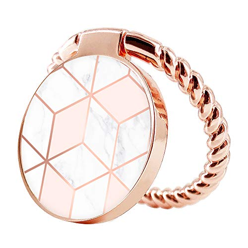 Obbii Cell Phone Ring Holder Stand Rose Pink Gold White Marble 360° Rotation Finger Kickstand Grip Loop Mount for iPhone and Other Smartphones