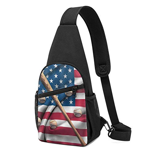 Sac à bandoulière antivol pour homme - Léger - Pour l'extérieur et la gym - - Batte de baseball sur drapeau américain Noir, Taille unique
