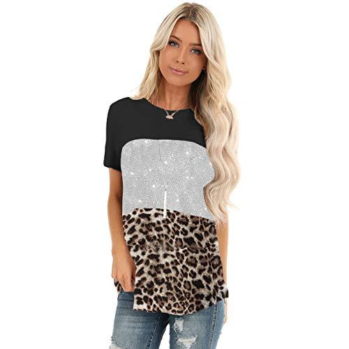 YYH Womens T-shirt met korte mouwen kleur blok Twist Casual blouses en tops 3XL 1 exemplaar