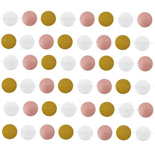 8M/26 Feet Circle Polka Dots Paper Garland Banner (Pink+White+Gold Glitter)