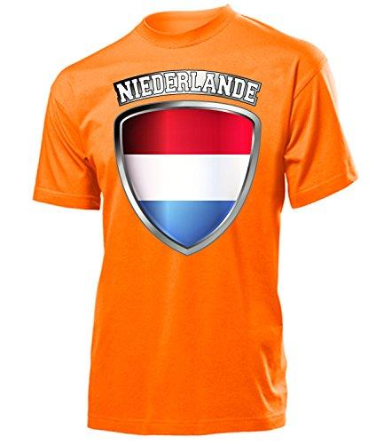Holland Niederlande Netherlands Nederland Fan t Shirt Artikel 4707 Fuss Ball EM 2020 WM 2022 Team Trikot Look Flagge Fahne Männer Herren Jungen XL