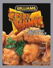 Williams Spicy Wings Hot Seasoned Coating Mix, 5 ounces each (Pack of 6)