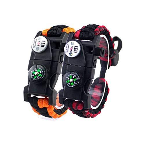 Hasey 2 pulseras de supervivencia ajustables, 7 núcleos, 20 en 1, para deportes de emergencia, engranaje dentado, kit de supervivencia al aire libre (naranja, negro y rojo negro)
