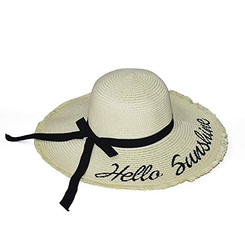 Fxhang Handgemaakte weave letters zonnehoed voor vrouwen Black Ribbon Lace Up grote rand strohoed Outdoor Beach Summer Caps