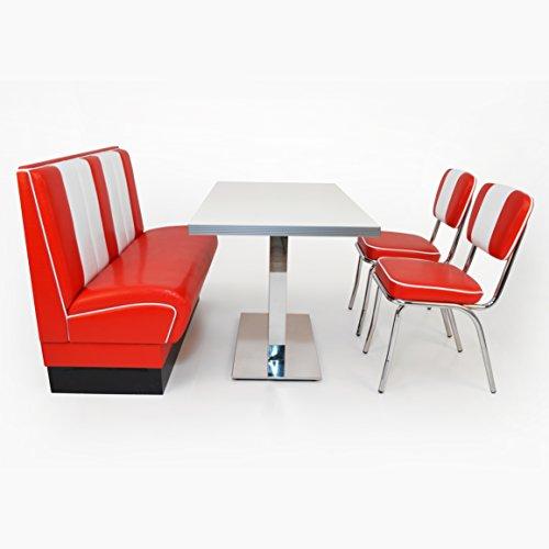 American Diner Sitzgruppe: Sitzbank Viber 120cm + Diner Tisch + 2x Retro Stuhl