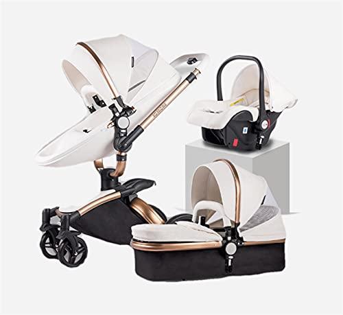 JAKWBR Carriaje de bebé Querido Cochecito de bebé 3 en 1 Cochecito liviano PRAM, Cochecito de Viaje Compacto, una Mano Plegable (Color : Blanco)