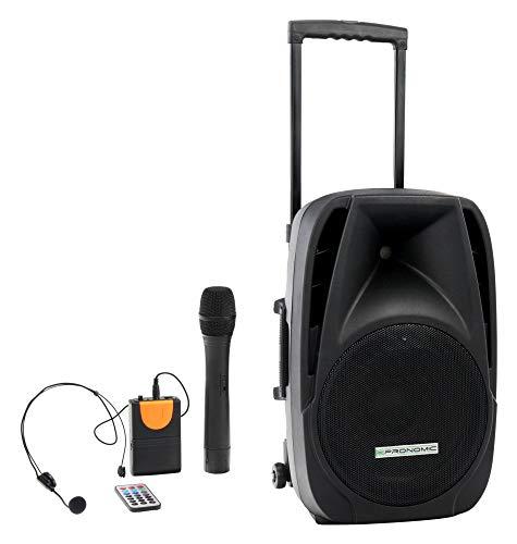 "Pronomic PH12AW Akku-Aktivbox 12\"" (Trolley Box, 12\"" Speaker, 80 Watt (RMS), 5 Stunden Laufzeit, Bluetooth, MP3/SD/USB-Player, inkl. Funkmikrofon, Headset, Fernbedienung)"