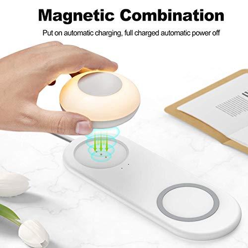 Preisvergleich Produktbild YJF LED-Nachtlicht Mit Wireless-Ladegerät Touch Control Nachtlicht Dimmbare Wiederaufladbare Nachtlicht Schnelle Wireless-Ladegerät Pad Kompatibel Für iPhone Galaxy