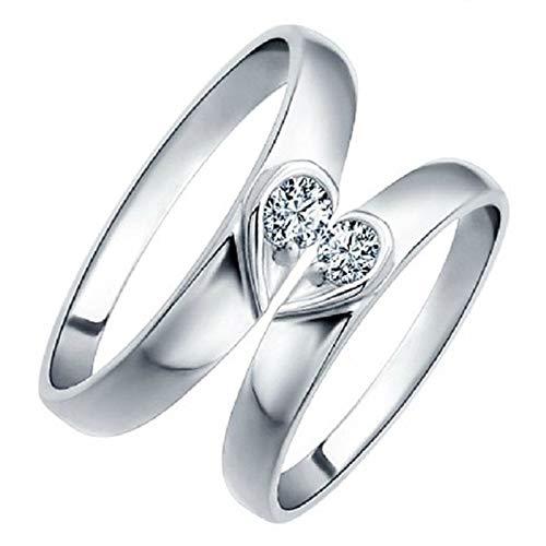 Uloveido 1 par Pareja Corazón Compromiso de boda Anillo ajustable Set Anillo de rompecabezas chapado en oro blanco para novio y novia Regalo de San Valentín