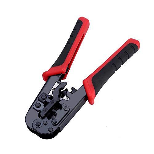 Lazmin Alicates de engarzado, Pinzas de Corte de Cable de Red multifunción ergonómicas portátiles, Pela la Herramienta de engarzado para Conectores RJ45 / RJ12 / RJ11 / 8P / 6P / 4P