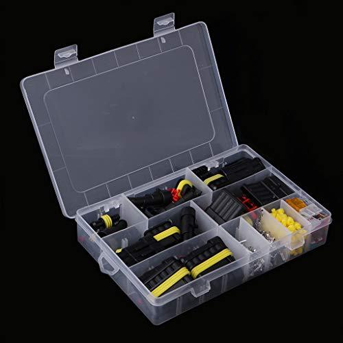 JOYKK 240 Stück Superseal AMP/Tyco wasserdichte 12 V Elektrische Steckverbinder Kit 1/2/3/4/5/6 Way Pin - Schwarz