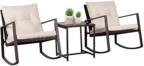 SOLAURA Outdoor Furniture 3-Piece Rocking Bistro Set Brown Wicker with Soft Cushions & Glass Coffee Table for Yard and Bistro(Beige)