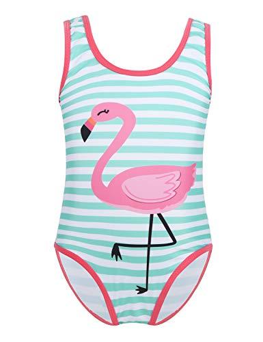 inlzdz Mädchen Flamingo Badeanzug gestreift Schwimmanzug Kleinkind Bikini Tankini Bademode Sommer Swimsuit One Piece Gr. 92-122 Mint Grün&Weiß 98-104