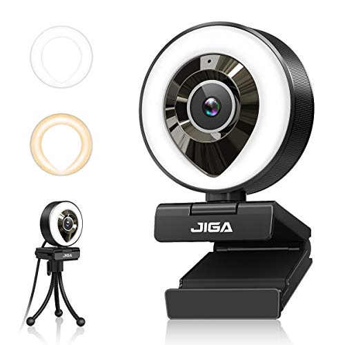 1080P Webcam mit Mikrofon, Full HD Facecam Live-Streaming Webcams mit Ringlicht, Stativ, 360° Schwenkradius JIGA, USB Kamera für PC, Videochat-Aufnahme, Mac, Laptop, Zoom, Skype (Weiß/Warmes Licht)
